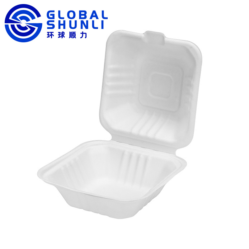 biodegradable sugarcane clamshell takeaway box